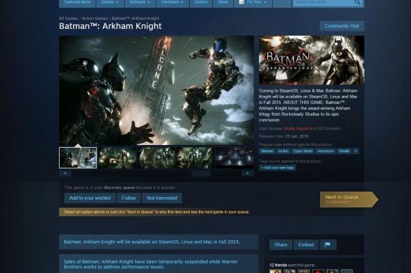 Batman: Arkham Knight versi PC ditarik dari peredaran, fisik maupun digital. Anda tidak bisa lagi membeli game ini di Steam.