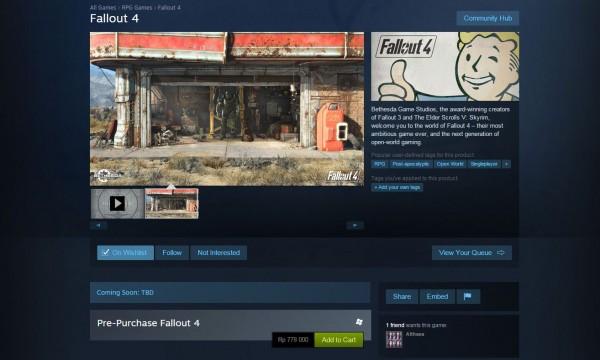Harga pre-order Fallout 4 di Steam Indonesia cukup tinggi. Ia dipatok di tingkat harga Rp 778.000,-
