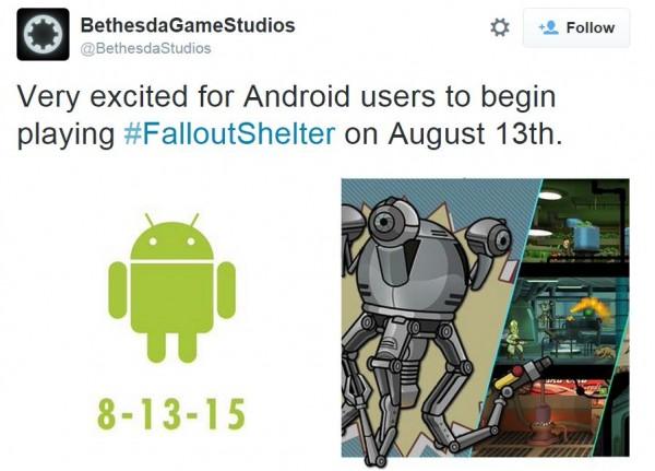 Setelah dirilis di iOS, Fallout Shelter akan tiba di Android pada 13 Agustus 2015 mendatang.