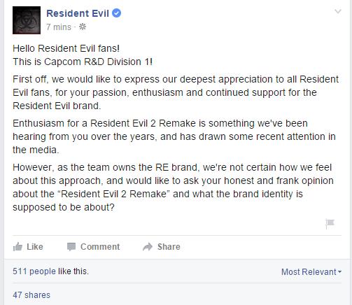 Capcom meminta pendapat gamer soal Resident Evil 2 Remake via akun Facebook resmi mereka.