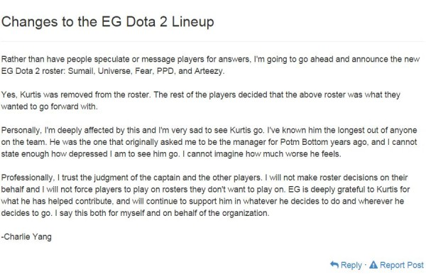 Manager EG - Charlie Yang secara resmi mengumumkan kembalinya Arteezy dari team Secret ke EG.