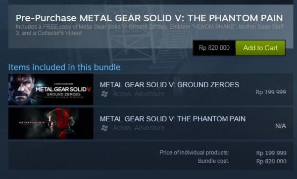 Ditawarkan dengan harga mahal, Konami tidak menyediakan opsi untuk membeli MGS V: TPP secara terpisah di Steam, setidaknya hingga berita ini dirilis. Anda dipaksa untuk membelinya dalam satu paket dengan MGS V: GZ.