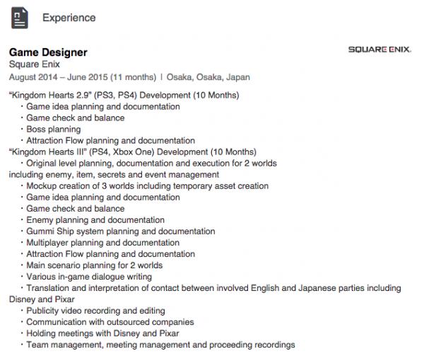 Profile LinkedIn - Richared VanDeventer, seorang game director berbasis di Osaka dengan jelas menuliskan bahwa dirinya terlibat dalam sebuah proyek bernama