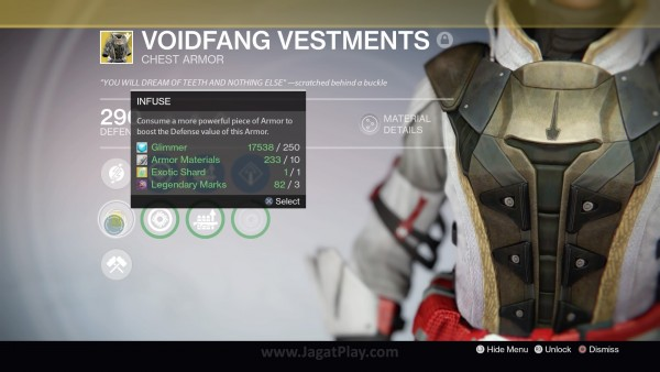 Infuse berguna untuk meningkatkan nilai dari gear Legendary dan Exotic