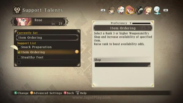 Support Talent tiap karakter unik dan dapat diajarkan ke karakter lain