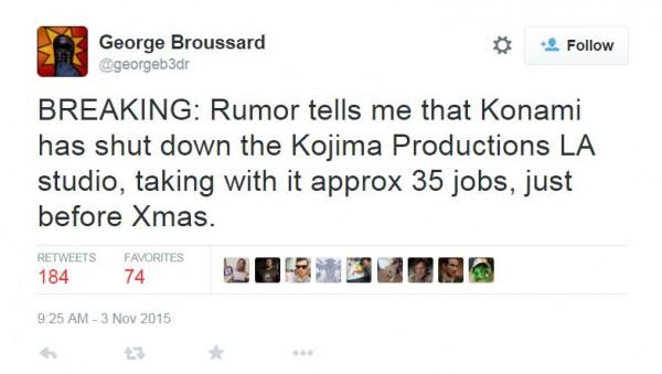 Broussard menyebut bahwa Konami telah menutup studio Los Angeles mereka yang seharusnya bertanggung jawab atas Metal Gear Online.