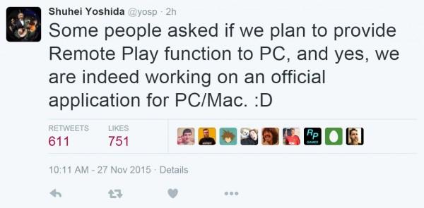 Shuhei Yoshida memastikan bahwa Sony memang tengah mengembangkan aplikasi resmi untuk Remote Play PS4 ke PC.
