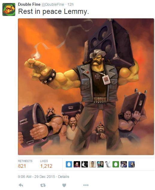Tak hanya musisi, developer game juga mengungkapkan rasa belasungkawa atas perginya vokalis Motorhead - Lemmy Kilmister.
