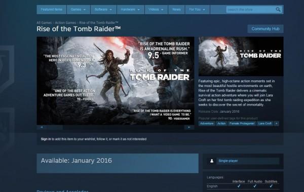Mengamini rumor yang sempat beredar sebelumnya, halaman Store di Steam juga menuliskan Januari 2016 sebagai jadwal rilis Rise fo the Tomb Raider.