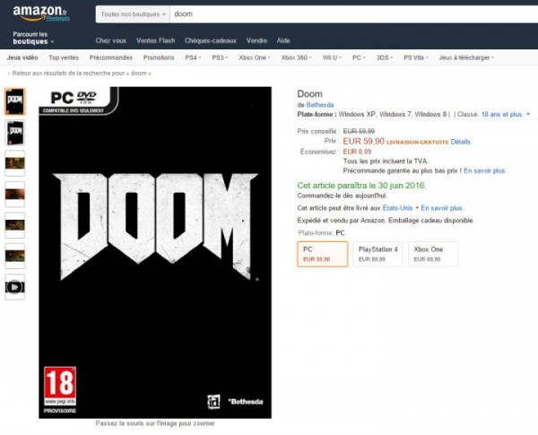Amazon Perancis menuliskan rilis Doom terbaru di tanggal 30 Juni 2016 mendatang.