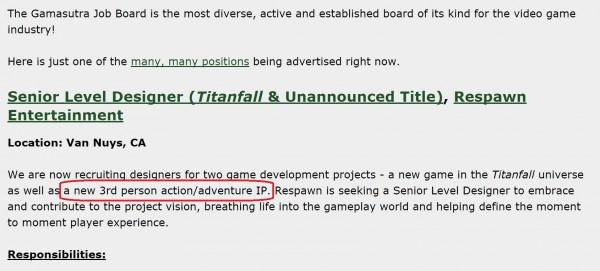 Lowongan pekerjaan terbaru Respawn memperlihatkan bahwa mereka tengah mempersiapkan satu game third person shooter baru di luar Titanfall 2.