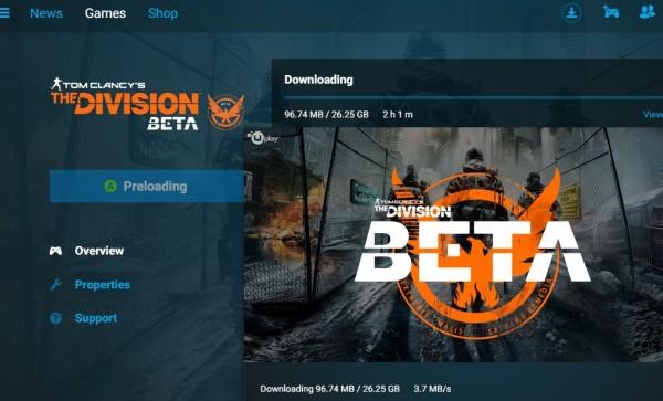 Pre-load dimulai tanggal 26 Januari 2016, gamer PC yang punya akses beta untuk The Division harus mengunduh data sekitar 26 GB.