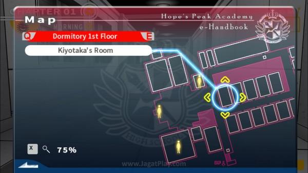 Peta di layar menu dapat digunakan untuk menemukan lokasi karakter dan teleport