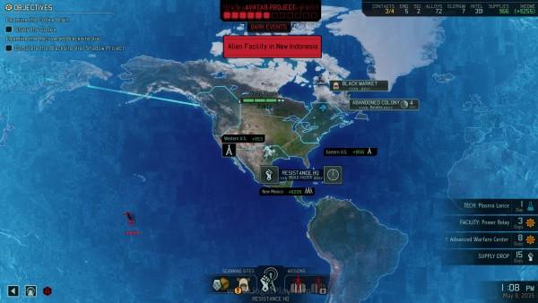 Peta dunia memperlihatkan tempat penting berisi misi dan kesempatan mendapatkan resource