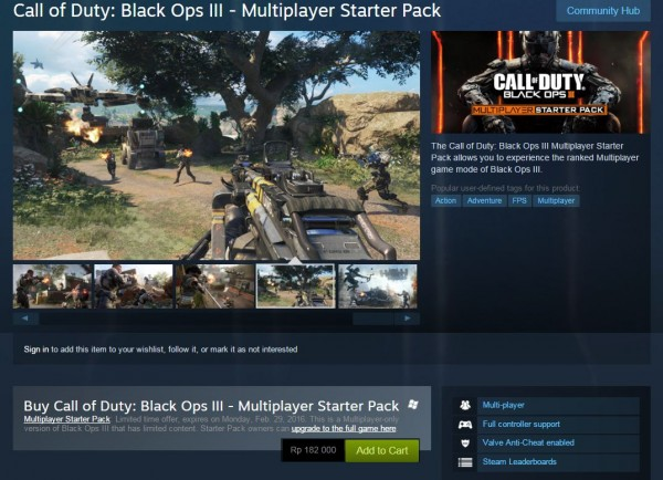 Hanya tersedia sampai tanggal 29 Februari 2016 mendatang, mode multiplayer COD: BO 3 terpisah ini bisa Anda dapatkan dengan harga lebih murah.
