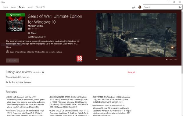 Gears of War: Ultimate Edition akhirnya eksis di Windows Store walaupun masih tanpa tanggal rilis dan harga pasti. Namun ia akhirnya membuka spesifikasi PC resmi yang dibutuhkan untuk menjalankannya.