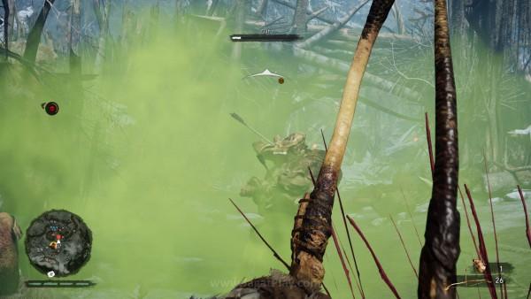 Tak ada granat? Tak masalah. Suku purba yang dipotret Ubisoft ini punya banyak senjata lempar dengan efek area, termasuk lebah hingga racun seperti ini.