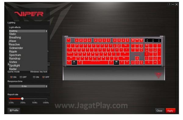 Dukungan program driver untuk mengubah cahaya dan meningkatkan kinerja keyboard