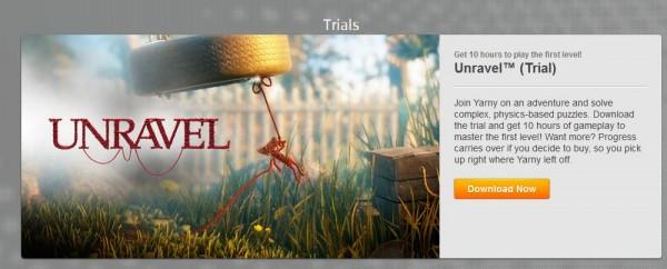 EA merilis versi Trial aka demo untuk game platformer mereka - Unravel.