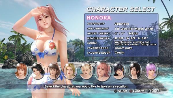 Berdasarkan sistem polling yang diselenggarakan sebelumnya, hanya ada 9 karakter wanita yang bisa Anda mainkan di DOAX3.