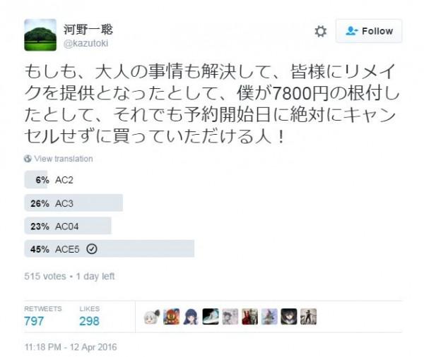 Kono - salah satu producer Bandai Namco membuka polling untuk proses remake seri klasik Ace Combat dan Ridge Racer.