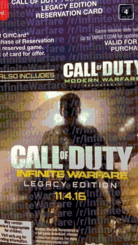 Infinite Warfare versi Legacy tertulis juga akan memuat COD 4: Modern Warfare versi Remastered.