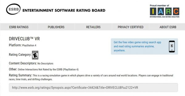 Badan Rating - ESRB mendaftarkan nama Driveclub versi VR.