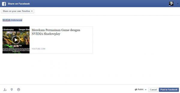 Share Public Video dan mention @Nvidia Indonesia di Facebook.