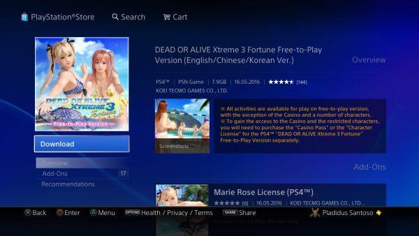 Anda yang punya akun Reg 3 atau Reg Jepang sudah bisa mengunduh DOAX 3 F2P untuk PS4 dan PS Vita.