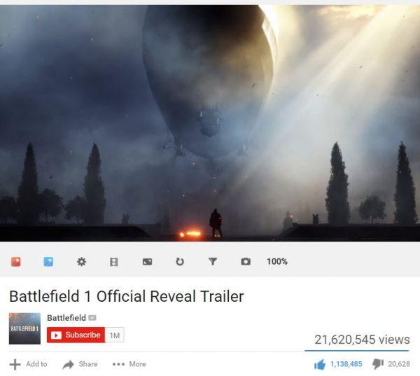 Trailer Battlefield 1 berhasil mencatatkan diri sebagai trailer dengan jumlah Like terbanyak di sepanjang sejarah Youtube.