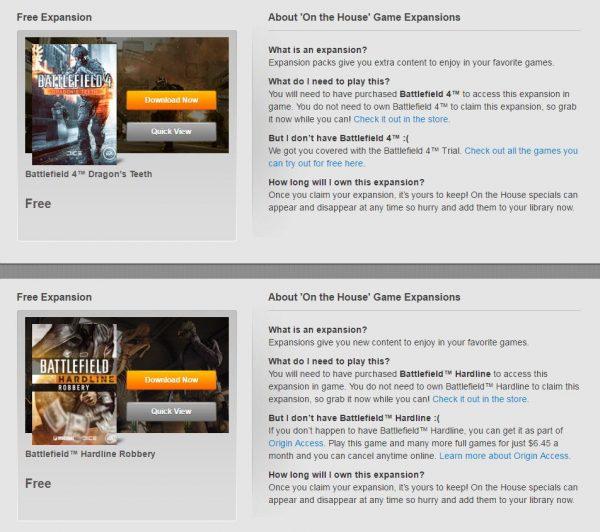 EA menggratiskan expansion untuk BF4 dan Hardline.