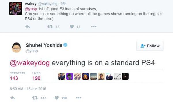 Sony memastikan bahwa semua demo di E3 2016 diambil dari PS4 standar dan buklan Neo.