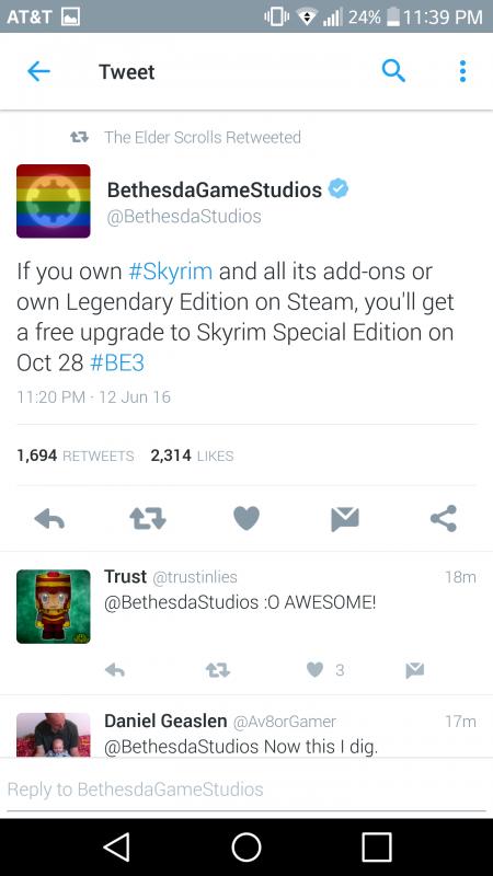 Gamer yang punya Skyrim di akun Steam mereka + semua DLC, atau sempat membeli Legendary Edition akan mendapatkan upgrade gratis ke Special Edition.