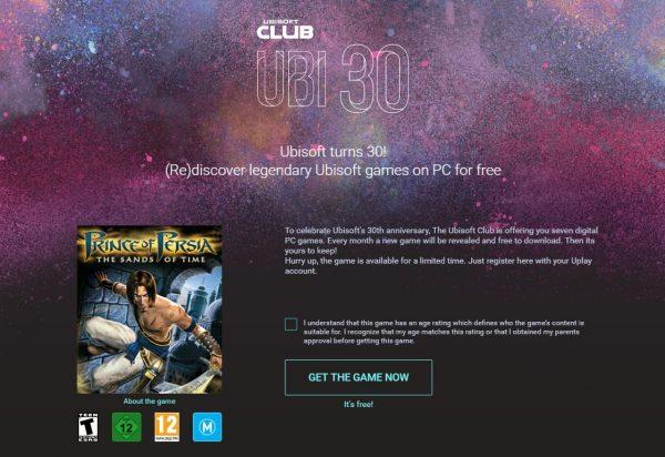 Merayakan ulang tahun ke-30 mereka, Ubisoft akan membagikan 1 buah game PC original gratis hingga akhir tahun 2016 via uPlay.