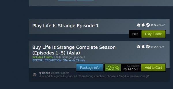 Life is Strange Eps. 1 original kini gratis. Anda bisa mengunduhnya langsung di Steam.