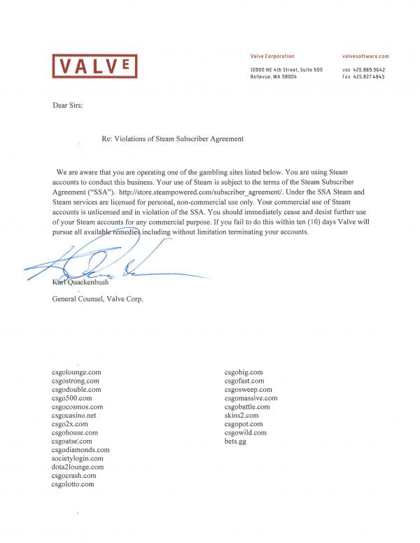 Tak lagi sekedar bicara, Valve mulai melayangkan surat peringatan ke 23 situs judi berbasiskan item in-game game mereka.