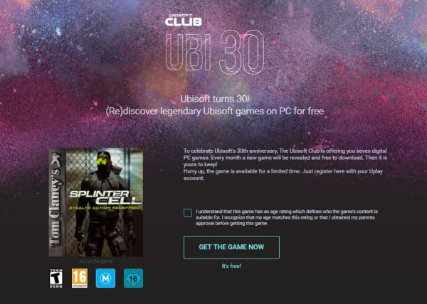 Splinter Cell pertama yang dirilis 2002 silam kini ditawarkan gratis sebagai bagian dari promo perayaan 30 tahun Ubisoft.