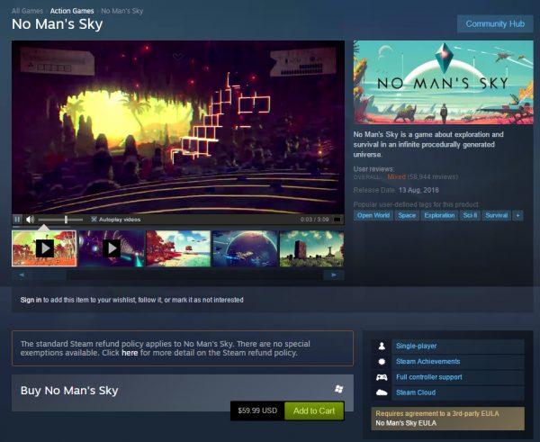 Begitu banyak gamer PC di Steam yang berusaha melakukan refund untuk No Man's Sky, hingga sebuah peringatan harus ditulis jelas di halaman Store yang ada.