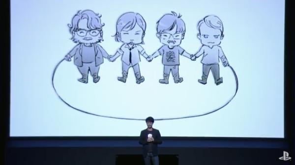 Kojima memang belum angkat bicara. Namun karikatur yang ia bawa ke panggung utama pre-TGS Sony ketika berbicara soal Death Stranding seolah mengkonfirmasikan keterlibatan Del Toro di sana.