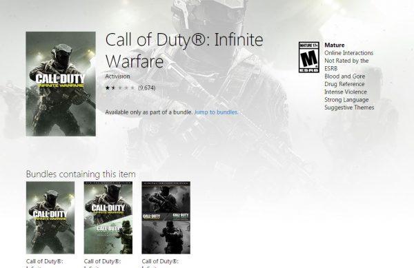 Gamer COD: IW yang membeli versi Win10 Store tak akan bisa bermain dengan gamer dari Steam.