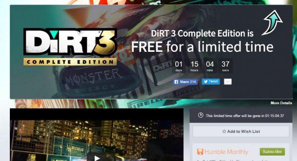 Anda bisa mengklaim Dirt 3 Complete Edition secara cuma-cuma via Humble Bundle.