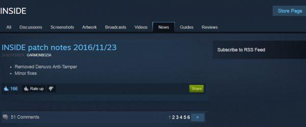Inside merilis patch terbaru untuk membuang Denuvo dari game mereka.
