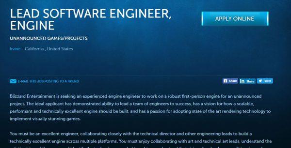 Blizzard membuka lowongan untuk proyek berbasis first-person yang masih belum diumumkan kepada publik.
