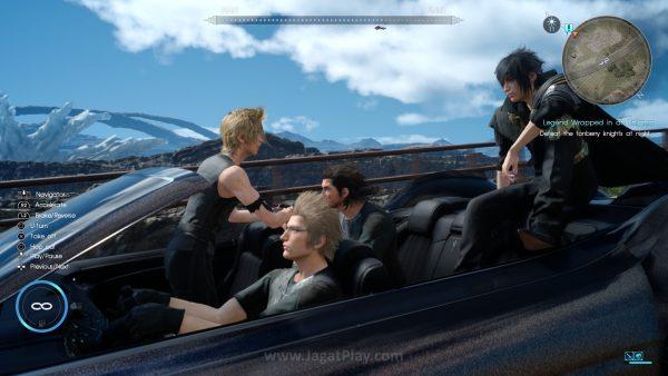 Bersama dengan tiga kawannya yang lain - Gladioulus, Ignis, dan Prompto, Noctis memulai perjalanannya.