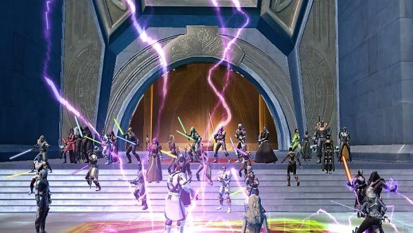 Gamer Staw Wars: Old Republic memberikan penghormatan pada Carrie Fisher dengan berkumpul di depan House of Organa.