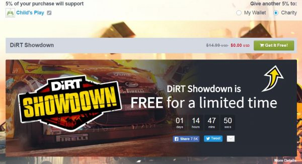 Anda bisa mengklaim Dirt Showdown secara cuma-cuma selama 38 jam ke depan via Humble Bundle.