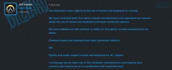 Jeff Kaplan ingin PS4 & Xbox One untuk menutup akses mouse / keyboard sama sekali atau membuatnya tersedia secara terbuka dan bebas untuk semua gamer.