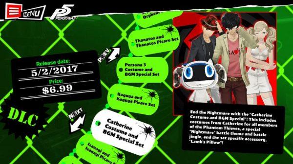 Persona 5 versi barat juga akan didukung semua DLC kosmetik yang sempat dirilis di versi Jepang, dan bisa dibeli secara terpisah.