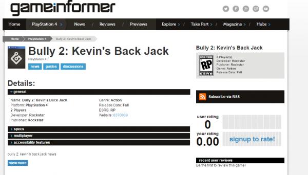 Media gaming ternama dengan kredibilitas tinggi - GameInformer memuat nama Bully 2: Kevin's Back Jack