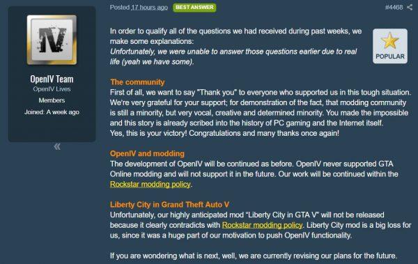 OpenIV dipastikan kembali, namun mau tak mau, harus membatalkan proyek mod Liberty City mereka untuk GTA V.